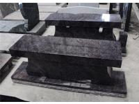 Bahama Blue Granite Monument Cemetery Bench