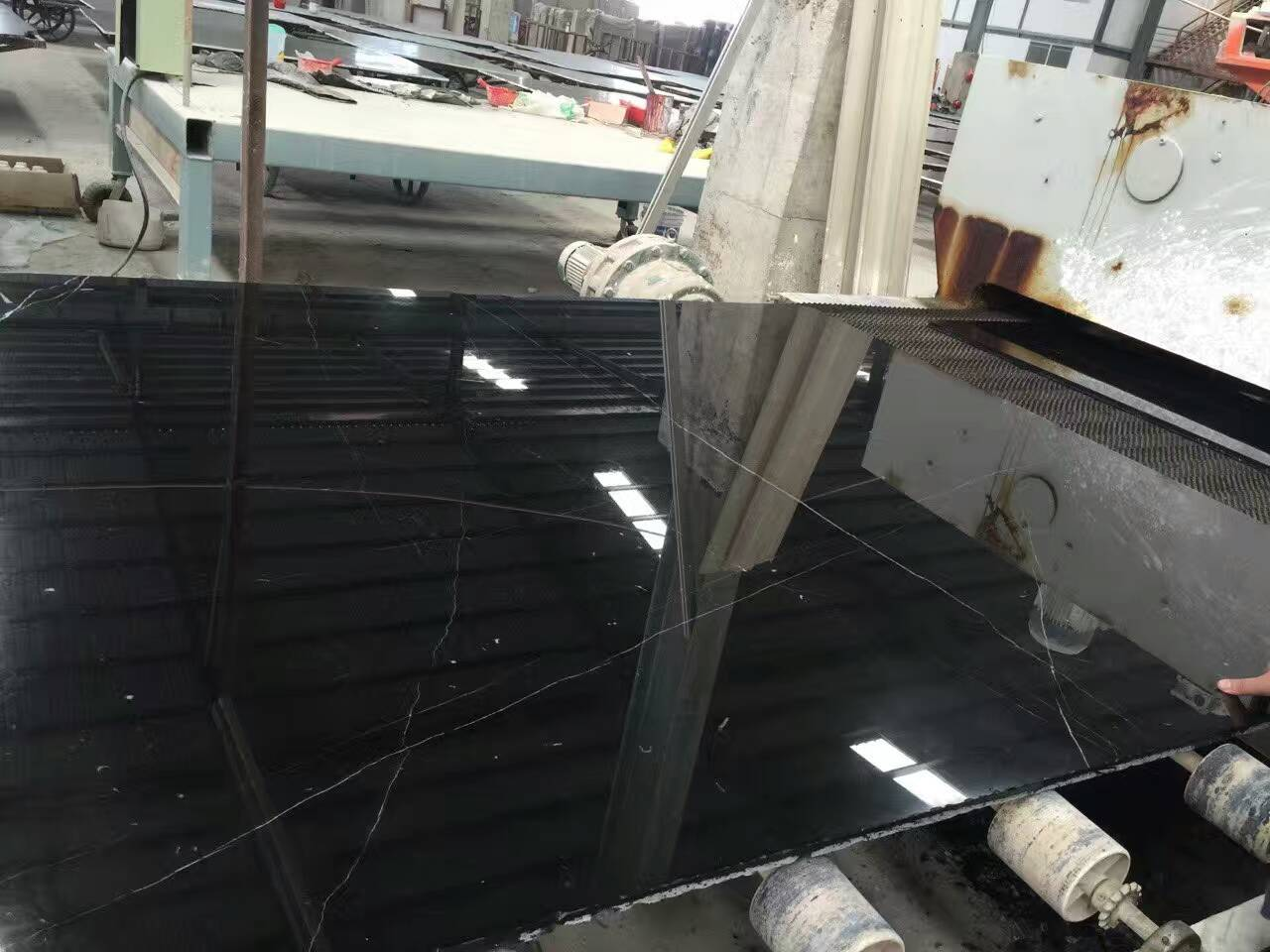 China Black Marble Nero Marquina Slabs
